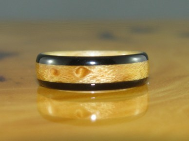African Blackwood ring and Bird's Eye Maple band
