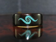 African Blackwood with a wave design filled with Chrysocolla