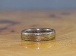 Grey Maple ring with Bamboo inlay