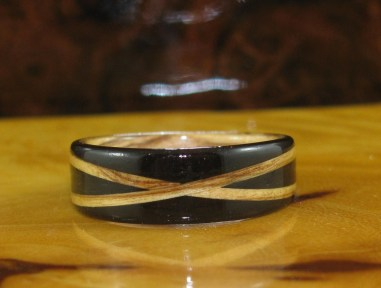 African Blackwood ring with a Bethlehem Olive Wood inlay