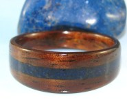 Dark Hawaiian Koa ring with a Lapis Lazuli band