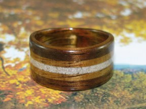 Dark Hawaiian Koa ring with bands of Golden Hawaiian Koa and Sand Dollar