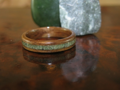 Dark Walnut ring with a Green Jasper band