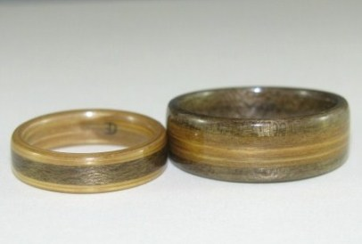 Grey Maple and Bamboo wedding bands