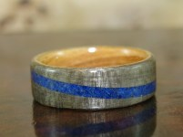 Grey Maple ring with Lapis Lazuli band and Olive wood liner