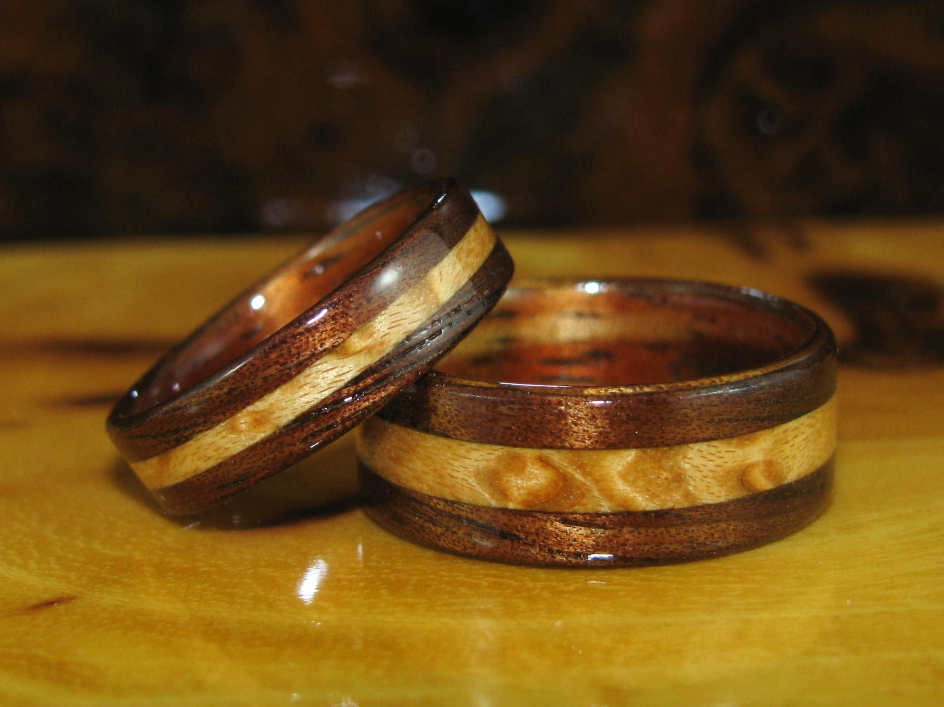 Dark Hawaiian Koa Wedding Bands With Birds Eye Maple Inlay