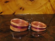 Juniper Heartwood and Purple Heartwood wedding bands