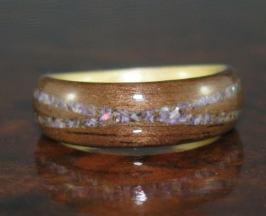 Mahogany Wood with a cross spiral band of Mother of Pearl, Amethyst and Mussel Shells