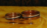 Mid toned Hawaiian Koa rings with African Blackwood and Willow bands