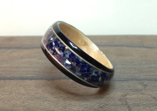 African Blackwood Ring with a Maple liner, 2 Ash bands with a crushed inlay of Galena, Lapis and Mother or Pearl