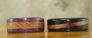 Purple Heartwood and African Blackwood Rings with Juniper Heartwood Inlays