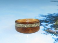 Teak ring with Ancient Kauri and Abalone shell bands